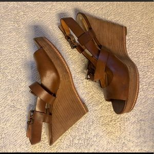 Coach brown leather wedges